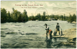 "Fishing on the French River, Ont. ""On Grand Trunk Railway"""