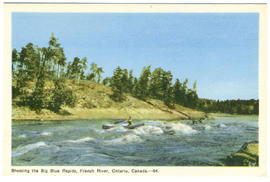 Shooting the Big Blue Rapids, French River, Ontario, --64.
