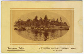 Restmore Lodge. Islands Eighty-two and Eighty-three, French River. P.O. Address, North Bay, Ontario. Canada. via Steamer.